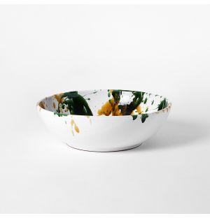 Splatter Serving Bowl Mustard & Green Medium