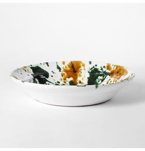 Splatter Serving Bowl Mustard & Green Large