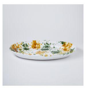 Oval Splatter Platter Mustard & Green