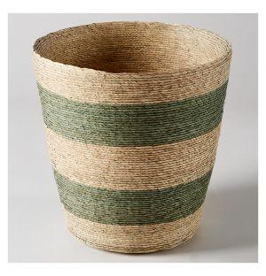 Waste Paper Basket Green & Natural