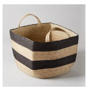 Square Revistero Storage Basket Black & Natural