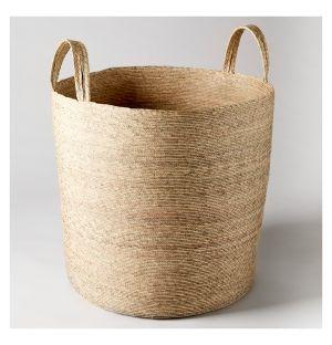 Tall Cylinder Storage Basket Natural