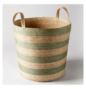 Tall Cylinder Storage Basket Green & Natural
