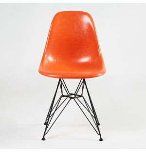 DSR Fiberglass Side Chair Red Orange & Dark