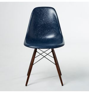 DSW Fiberglass Side Chair Navy Blue & Dark Maple