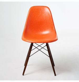 DSW Fiberglass Side Chair Red Orange & Dark Maple