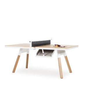 You & Me Indoor Ping-Pong Table in White & Oak