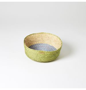 Round Basket Green, Blue & Natural Small