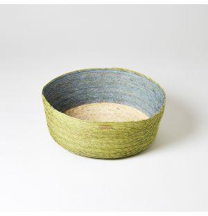 Round Basket Green, Blue & Natural Large