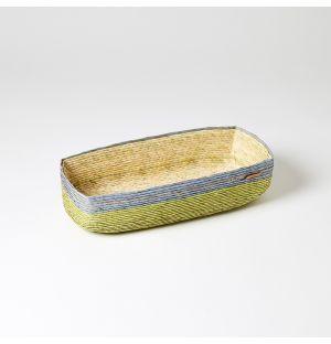 Rectangular Basket Green, Blue & Natural Large