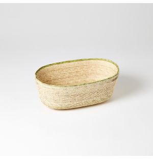 Rim Oval Basket Green & Natural Medium