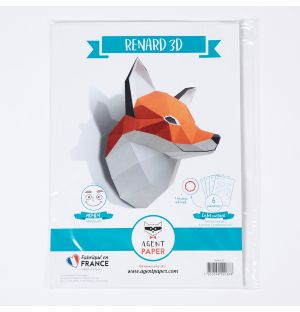 3D Paper Fox Trophy Head