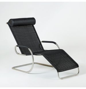 F42-1E Chaise Longue Wickerwork & Leather