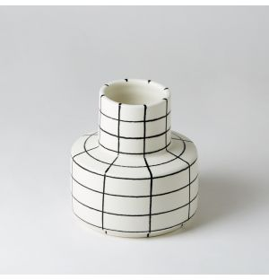 Square Vase in Black Lines & Matte White