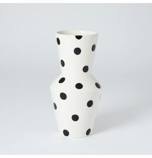 Tubolare Vase in Black Spots