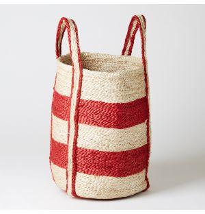 Round Basket Red Stripe Small