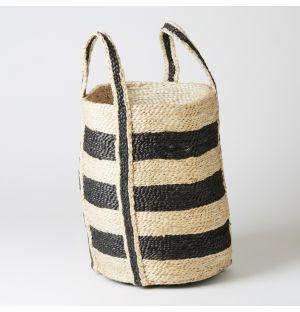 Round Basket Grey Stripe Small