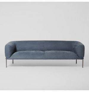 Rondo 3-Seater Sofa Old Velvet Leather Petrolio