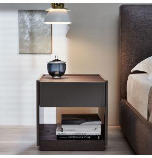 5050 Bedside Table Glossy Lead Grey & Graphite Oak