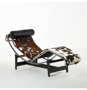 LC4 Chaise Longue Hairy Hide & Graphite Leather