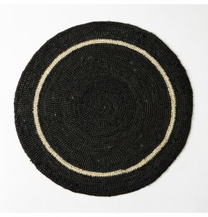 Circular Placemat Black & Natural 38cm