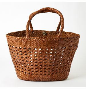 Cannage Market Bag Tan & Black Extra Large