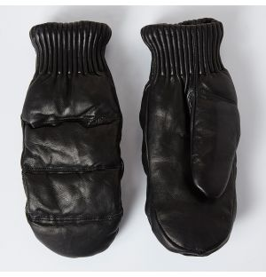 Unisex Valdres Leather Mittens Black Size 8