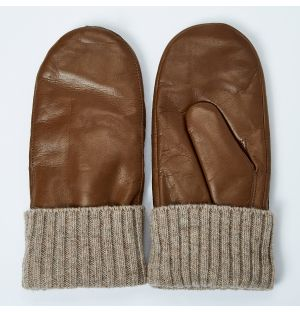 Women's Tina Leather Mittens Tan Size 7