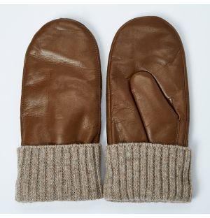 Women's Tina Leather Mittens Tan Size 6