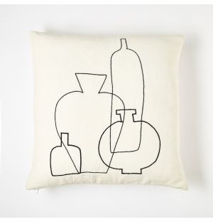 Vase Embroidered Cushion Cover Black & White 45cm x 45cm