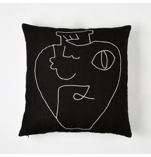 Embroidered Cushion Cover Black & White 45cm x 45cm