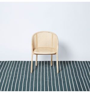 White Stripe Woven Rug Sage 170cm x 240cm