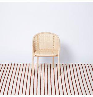 White Stripe Woven Rug Rust 170cm x 240cm