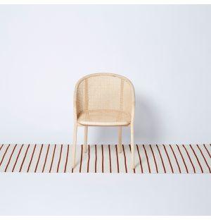 White Stripe Woven Rug Rust 250cm x 70cm