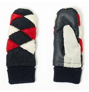 Quilted Mittens Navy, Red & White Large