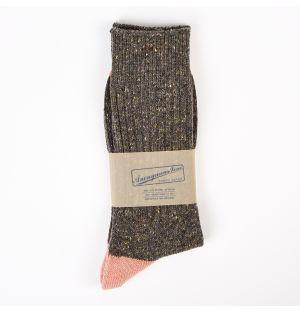 Tweed Knitted Yarn Crew Socks Grey & Pink