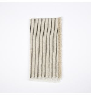 Frayed Stripe Napkin Black