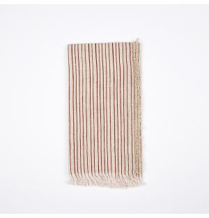 Frayed Stripe Napkin Red