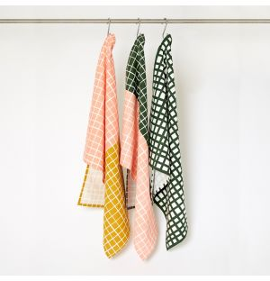 Grid Tea Towels Pink & Green Set of 3