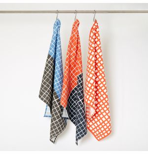 Grid Tea Towels Red & Blue Set of 3