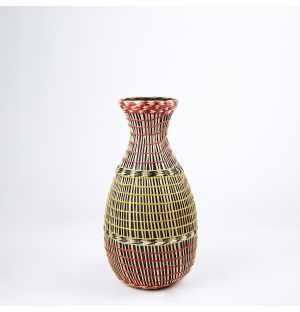 Bamboo & Seagrass Woven Vase Pink & Natural 42cm