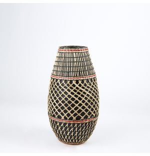 Bamboo & Seagrass Woven Vase Pink & Natural 36cm