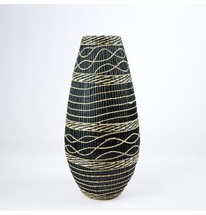 Bamboo & Seagrass Woven Vase Black & Natural 50cm