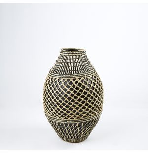 Bamboo & Seagrass Woven Vase Black & Natural 37cm