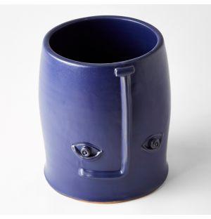 Face Vase Blue 18cm