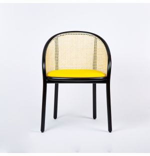 Ex-Display Latis Chair in Black Ash & Yellow Byram Seat Upholstery