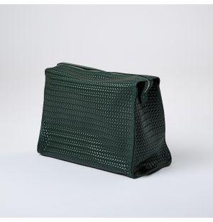 Leather Weekender Bag Dark Green Large