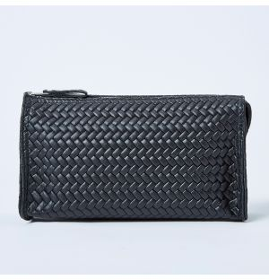 Leather Cosmetics Bag Black Small
