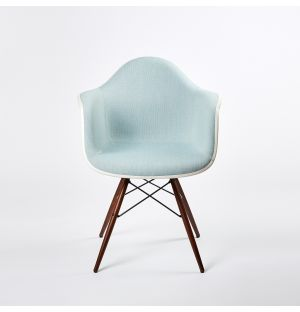 DAW Plastic Armchair Dark Maple Base & Hopsak Upholstery