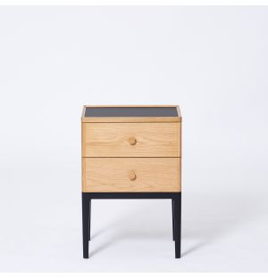 Exclusive Monument 2-Drawer Bedside Table in Oak & Ash